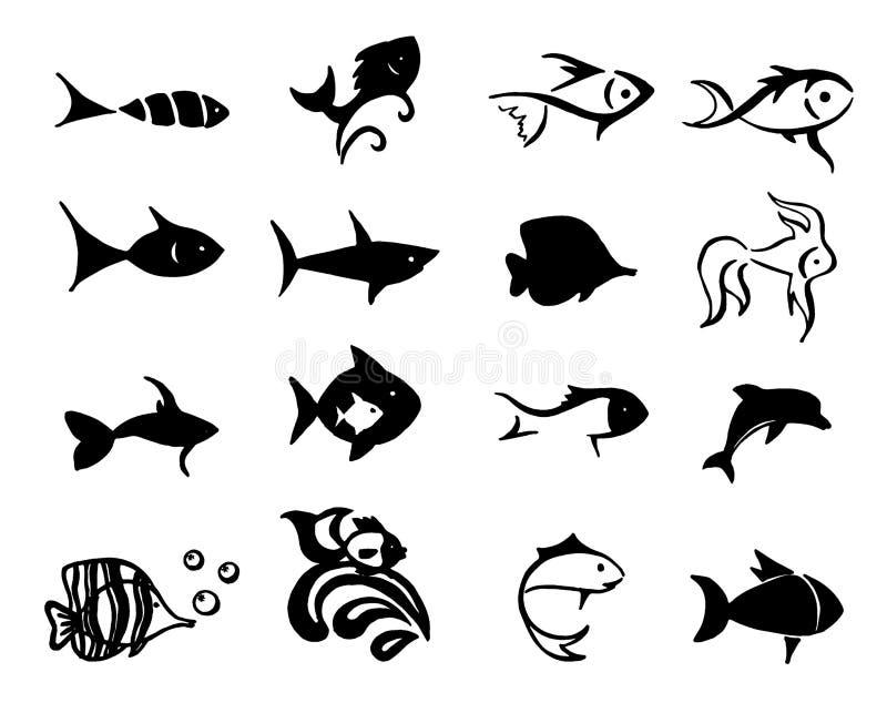 Vectorhand getrokken schets van vissenillustratie op witte achtergrond royalty-vrije illustratie