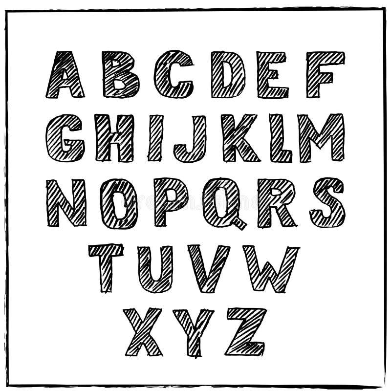 Vectorhand Getrokken Schetsalfabet Inkt gekraste doopvont stock illustratie
