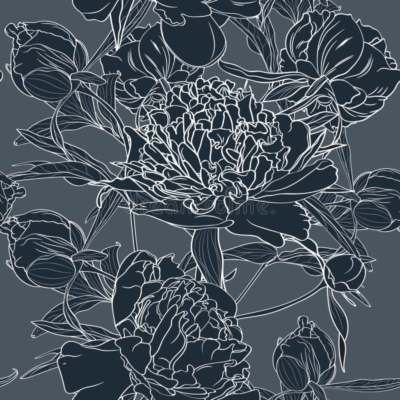 Vectorhand getrokken schetsillustratie van het donkerblauwe naadloze patroon van pioenbloemen royalty-vrije illustratie