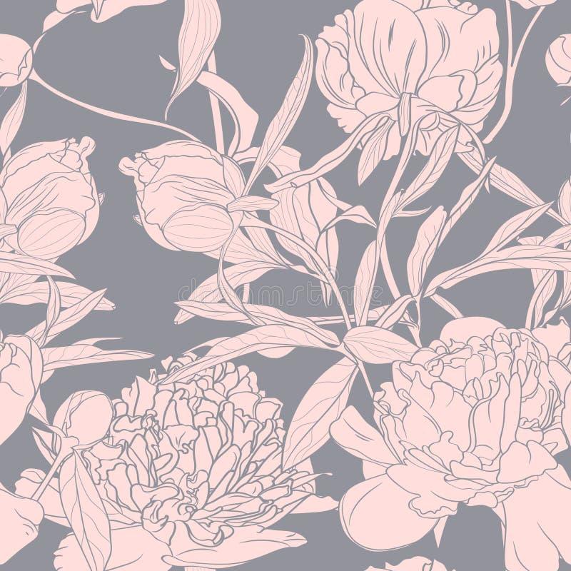 Vectorhand getrokken schetsillustratie van het roze naadloze patroon van pioenbloemen Bloemen grijze achtergrond, royalty-vrije illustratie