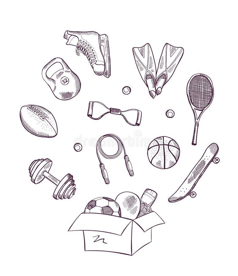 Vectorhand getrokken sporten in doosillustratie vector illustratie