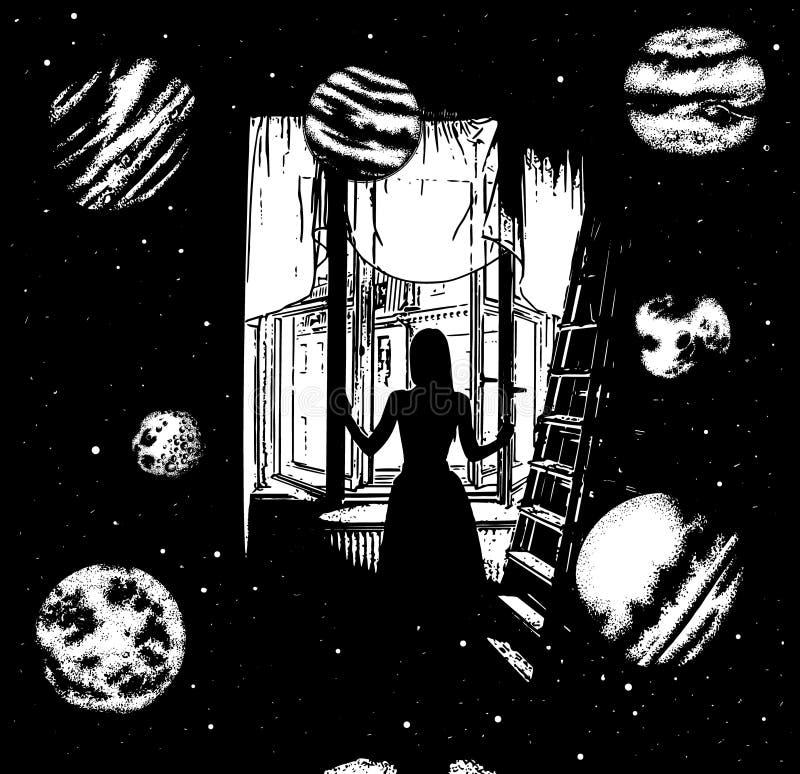 Vectorhand getrokken surreal illustratie van een meisje het openen venster in de andere wereld stock illustratie