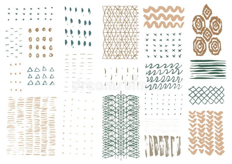 Vectorhand getrokken texturen stock illustratie