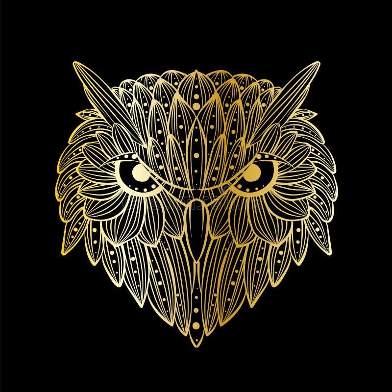 Vectorhand getrokken Uilgezicht Zentangleart. Etnische gevormde illustratie voor antistress kleurend boek, tatoegering, affiche,  royalty-vrije illustratie