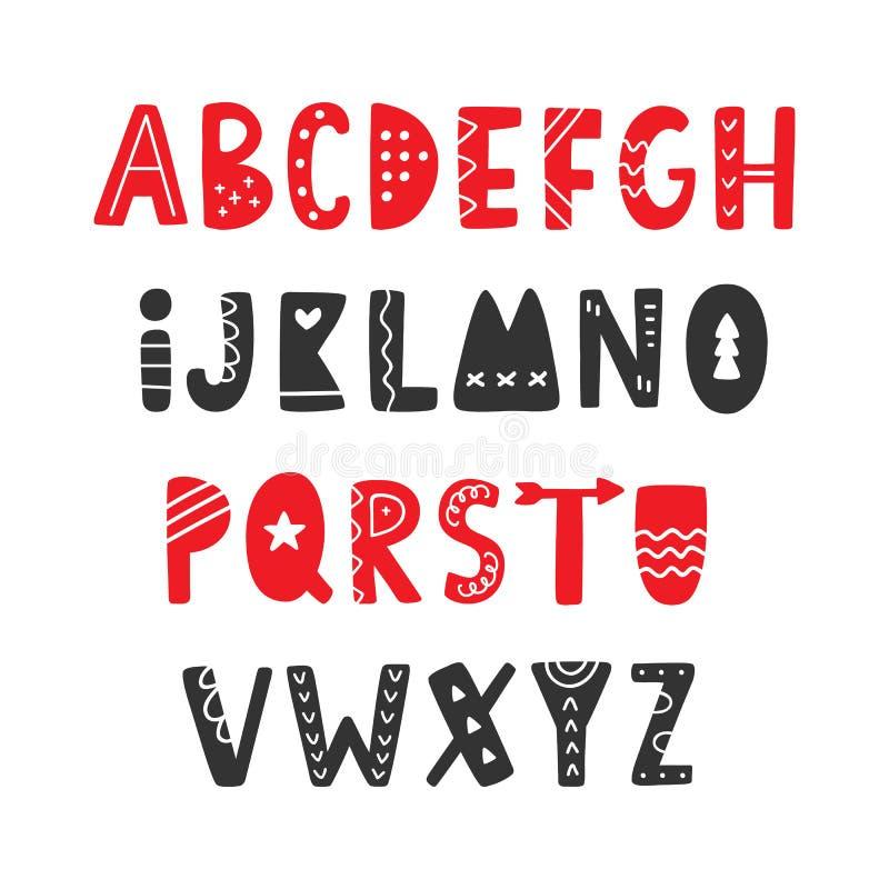 Vectorhand getrokken Volks Skandinavische Doopvont Engels alfabet stock illustratie