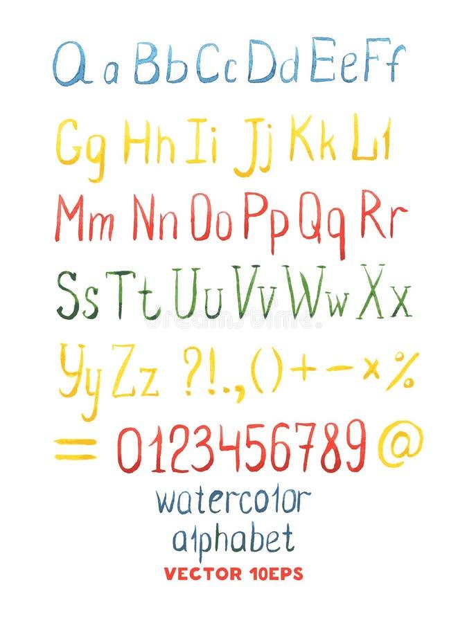 Vectorhand Getrokken Waterverfalfabet vector illustratie