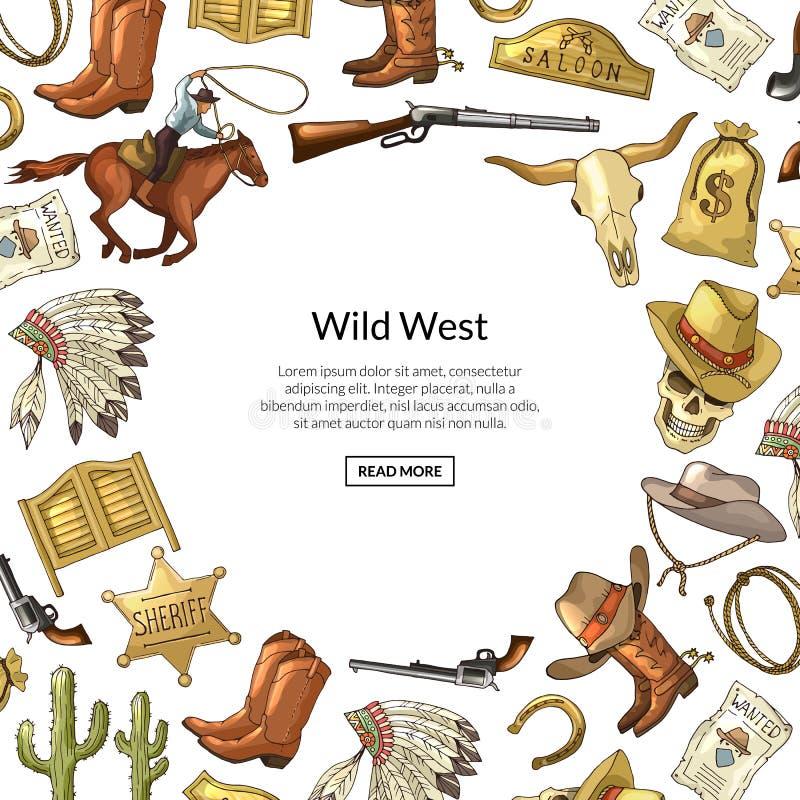 Vectorhand getrokken wilde de elementenachtergrond van de het westencowboy met plaats voor tekstillustratie vector illustratie