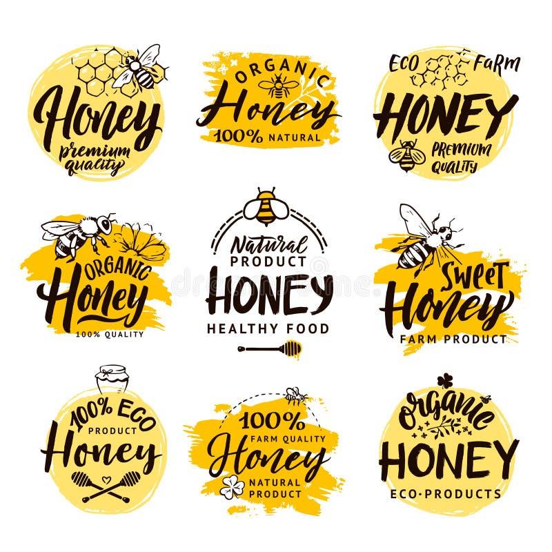 Vectorhand getrokken woorden en brieven Embleem voor honingsproducten dat wordt geplaatst royalty-vrije illustratie