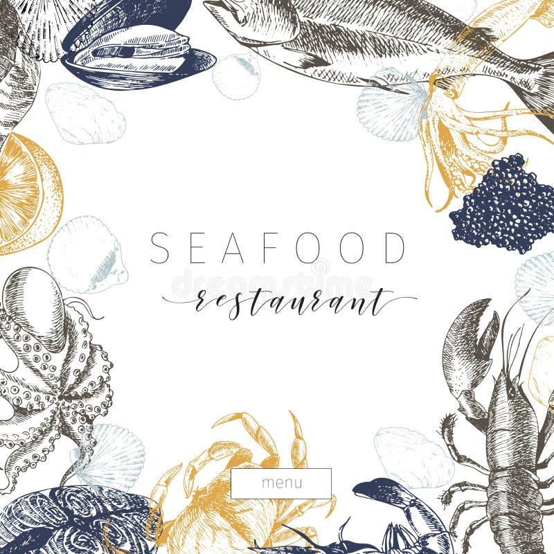 Vectorhand getrokken zeevruchtenbanner Zeekreeft, zalm, krab, garnalen, ocotpus, pijlinktvis, tweekleppige schelpdieren royalty-vrije illustratie
