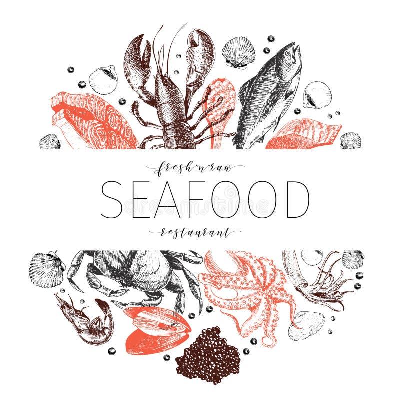 Vectorhand getrokken zeevruchtenbanner Zeekreeft, zalm, krab, garnalen, ocotpus, pijlinktvis, tweekleppige schelpdieren Gegraveer vector illustratie