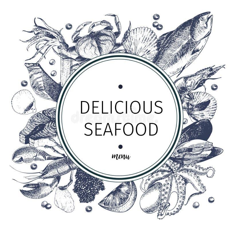 Vectorhand getrokken zeevruchtenembleem Zeekreeft, zalm, krab, garnalen, ocotpus, pijlinktvis, tweekleppige schelpdieren Gegravee stock illustratie