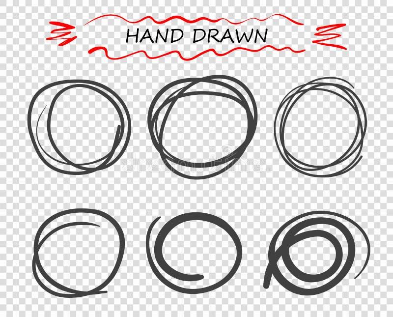 Vectorhand getrokken zwarte ronde Krabbel van lijnen Selectie van elementennota's, schets Berichtbel Geïsoleerde achtergrond royalty-vrije illustratie