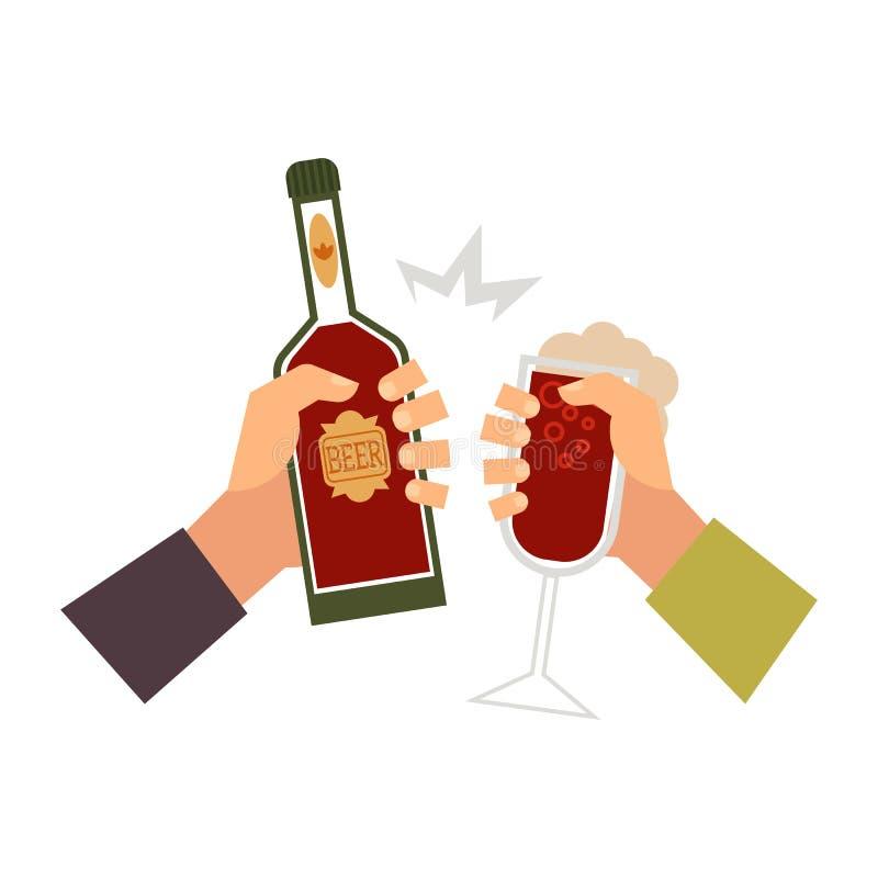 Vectorhanden met glas van drank, fles het roosteren vector illustratie