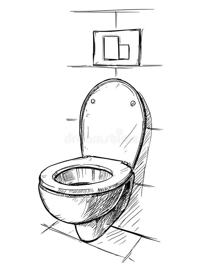 Vectorhandtekening van Toiletkom in Badkamers stock illustratie
