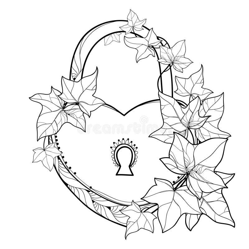 Vectorhangslothart met van de overzichtsbos de Klimop of van Hedera wijnstokken Overladen die bladeren van Klimop in zwarte op wi royalty-vrije illustratie