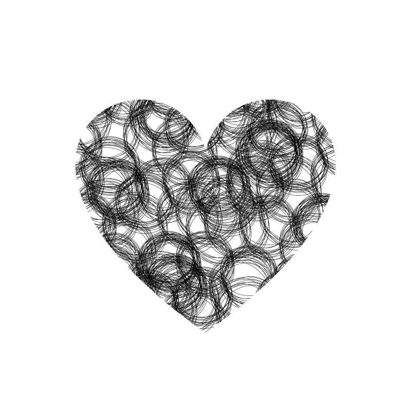 Vectorhartvorm, de Textuur van Gekrabbelcirkels, Krabbelillustratie, Zwarte Geïsoleerde Tekening vector illustratie