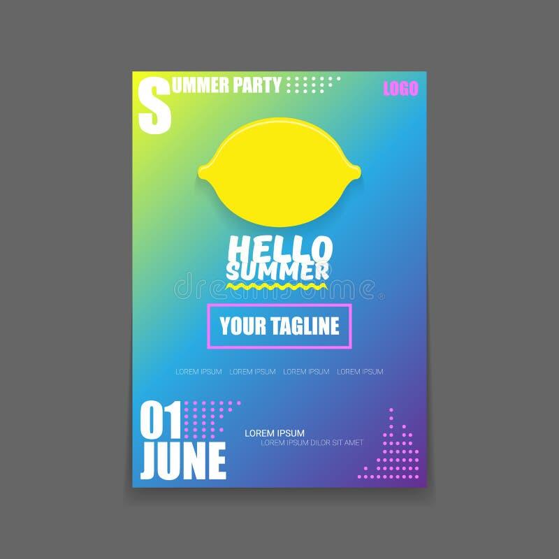 Vectorhello-van de de Partij verticaal A4 affiche van het de Zomerstrand het Ontwerpmalplaatje of spot omhoog met verse citroen o vector illustratie