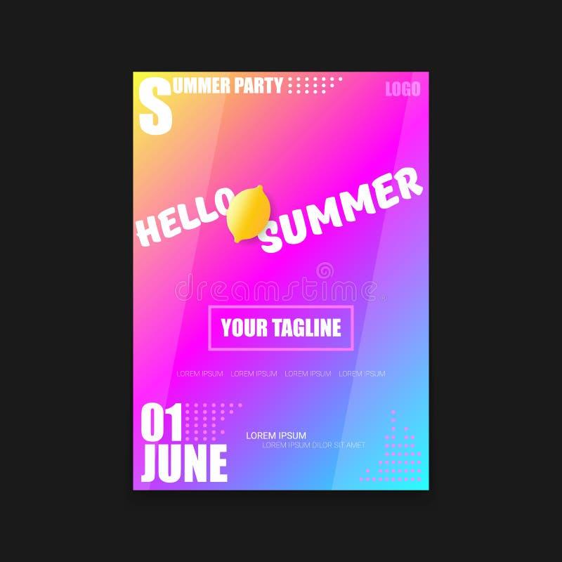 Vectorhello-van de de Partij verticaal A4 affiche van het de Zomerstrand het Ontwerpmalplaatje of spot omhoog met verse citroen o stock illustratie