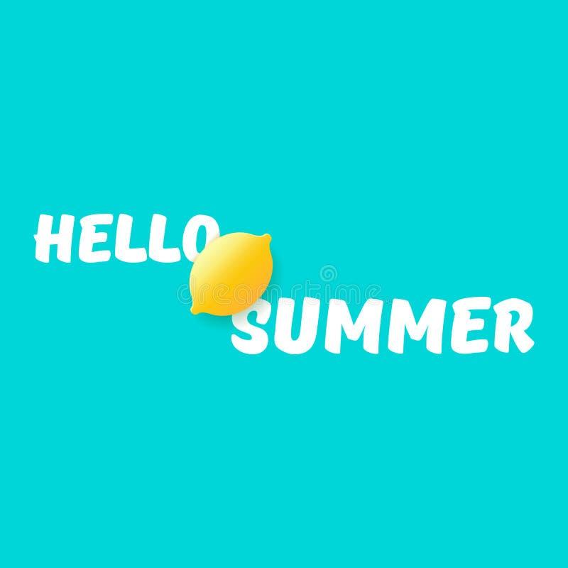 Vectorhello-van de de Partijvlieger van het de Zomerstrand het Ontwerpmalplaatje met verse citroen die op azuurblauwe achtergrond stock illustratie