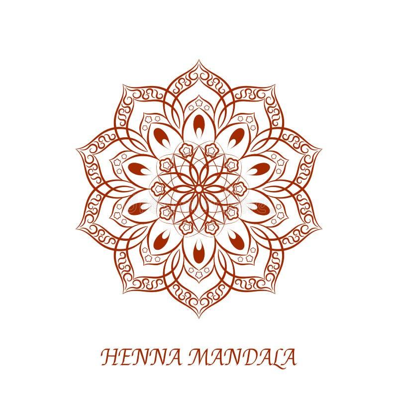 Vectorhenna color mandala over wit royalty-vrije illustratie