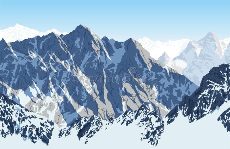 Vectorhimalayan-berg Lhotse - de mening van het zuidengezicht van Everest-Trek van het Basiskamp stock illustratie