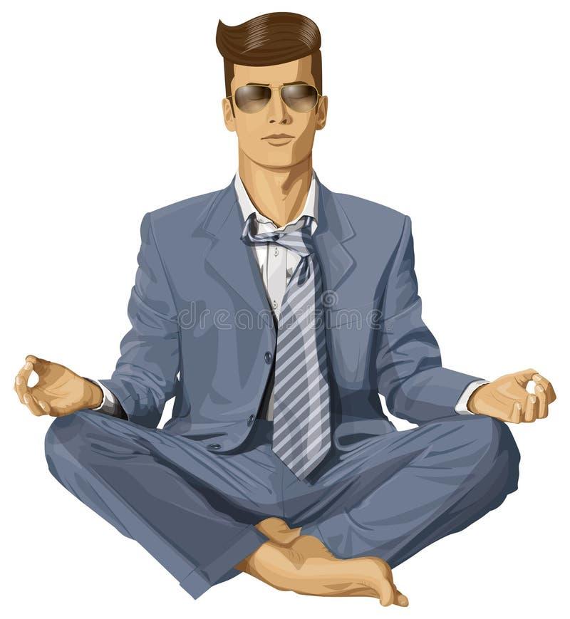 Vectorhipster-Zakenman in Lotus Pose Meditating stock illustratie