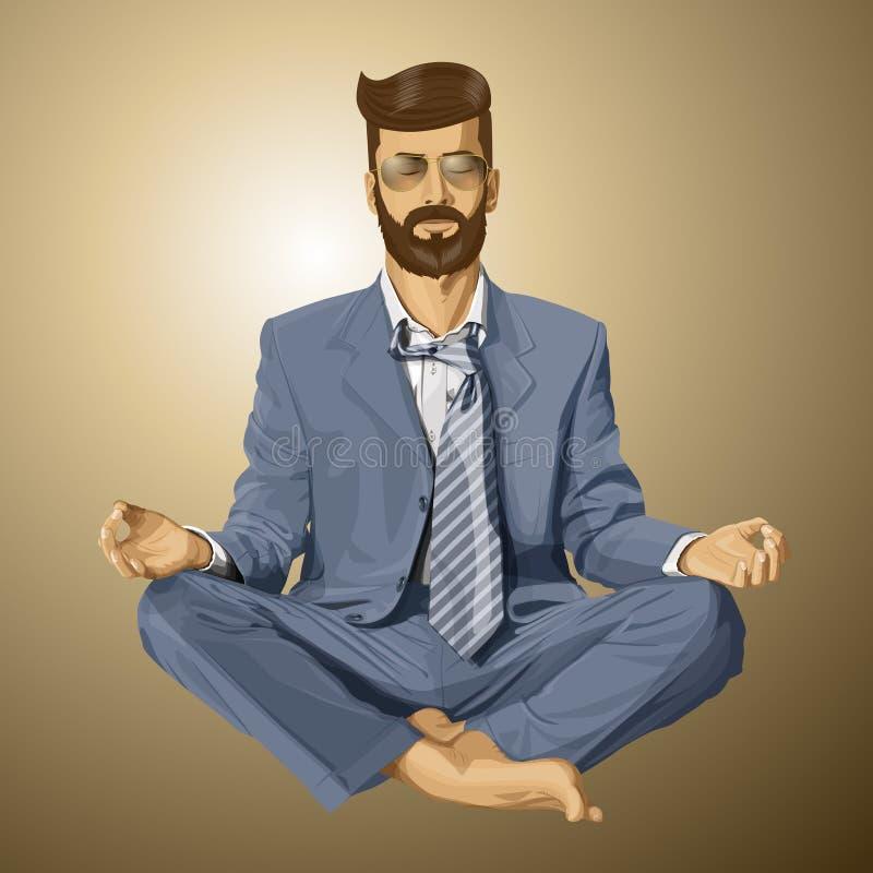 Vectorhipster-Zakenman in Lotus Pose Meditating royalty-vrije illustratie