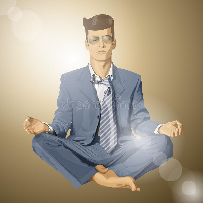 Vectorhipster-Zakenman in Lotus Pose Meditating vector illustratie