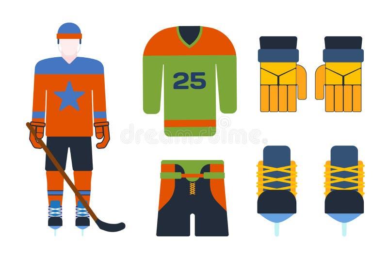 Vectorhockey eenvormige toebehoren in vlakke stijl stock illustratie