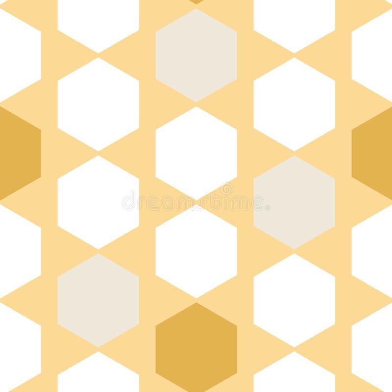 Vectorhoningraatsamenvatting op Gele naadloze patroonachtergrond stock illustratie