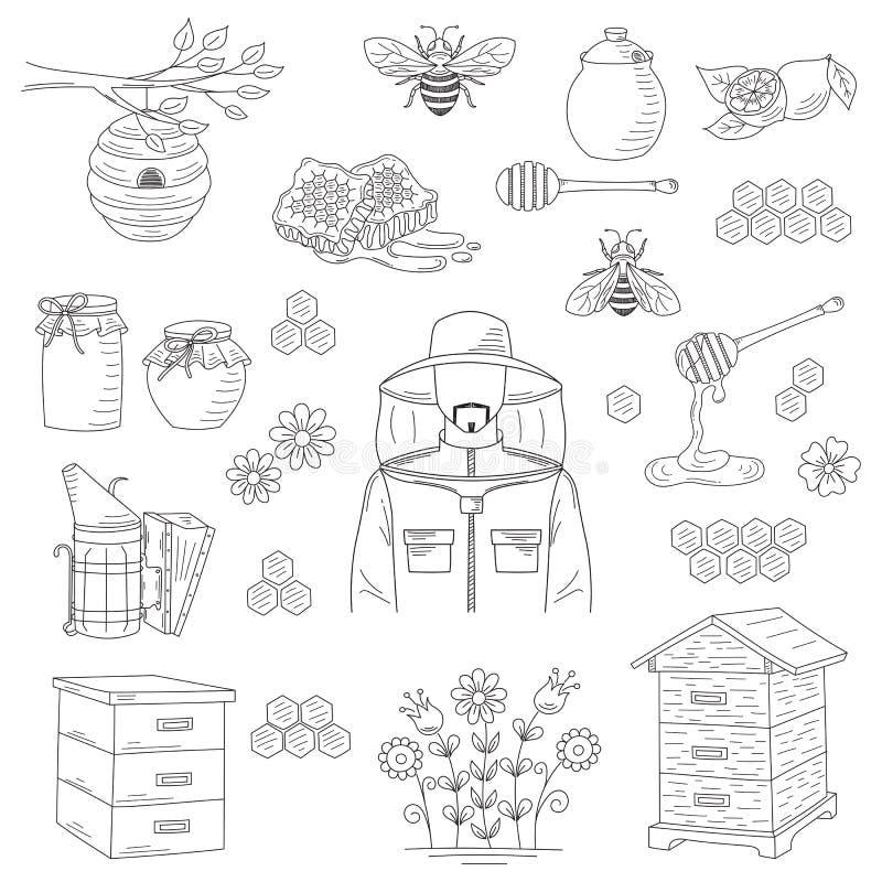 Vectorhoningsinzameling met imkerijelementen royalty-vrije illustratie