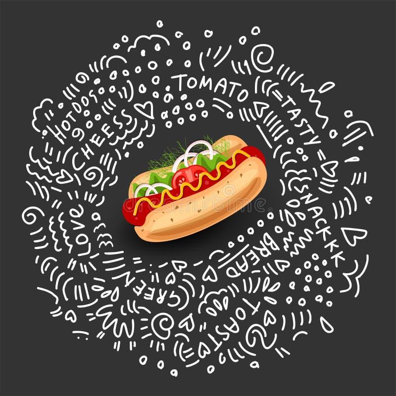 Vectorhotdog, Geïsoleerd Pictogram op zwarte achtergrond Klassiek Symbool van Snel Voedsel voor Straatlunch Kleurrijke Smakelijke royalty-vrije illustratie