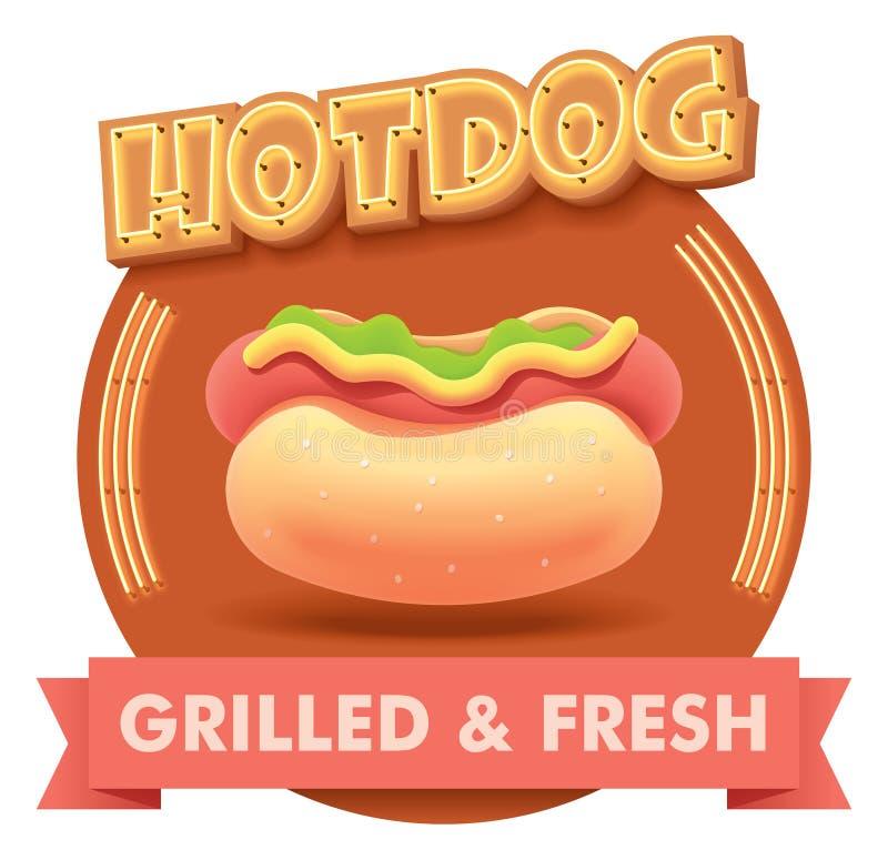 Vectorhotdogillustratie of etiket voor menu stock illustratie