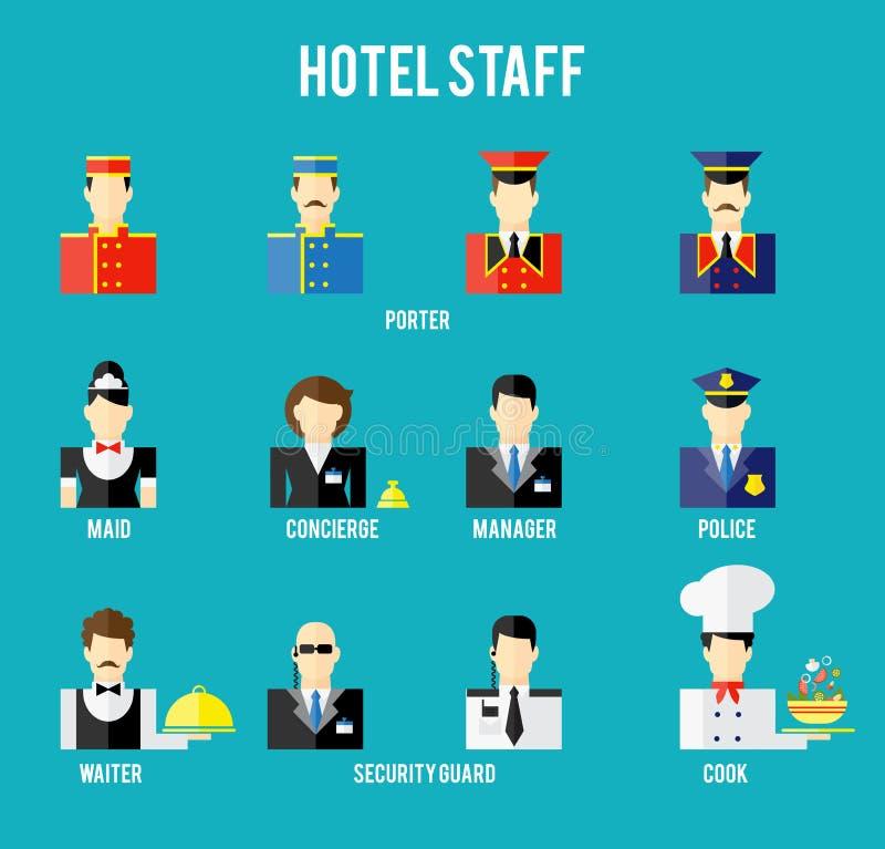 Vectorhotelpersoneel stock illustratie