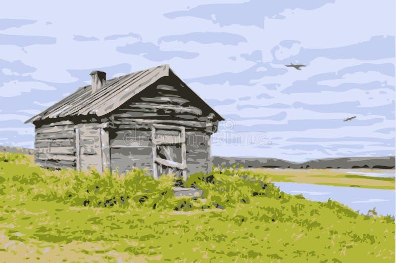 Vectorhuis bij de rivier stock illustratie