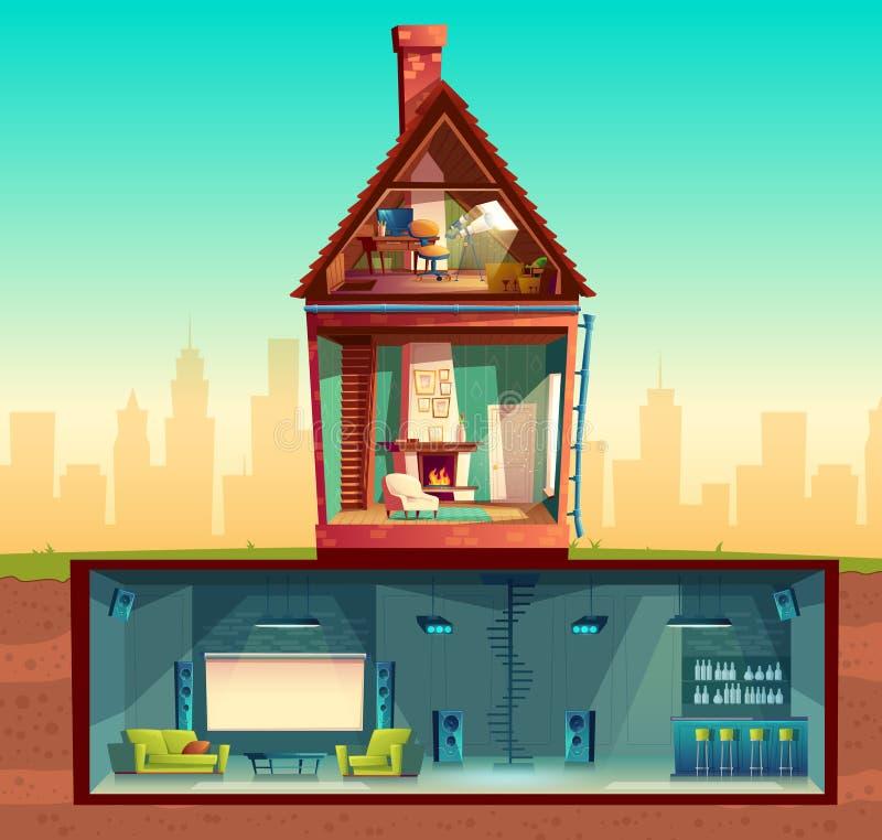 Vectorhuis in dwarsdoorsnede, kelderverdieping, zolder vector illustratie
