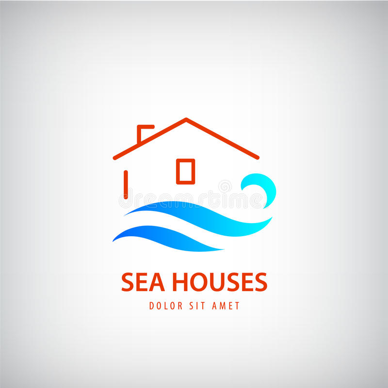 Vectorhuisembleem met blauwe golf Huur dichtbij overzees vakantie, strandteken stock illustratie