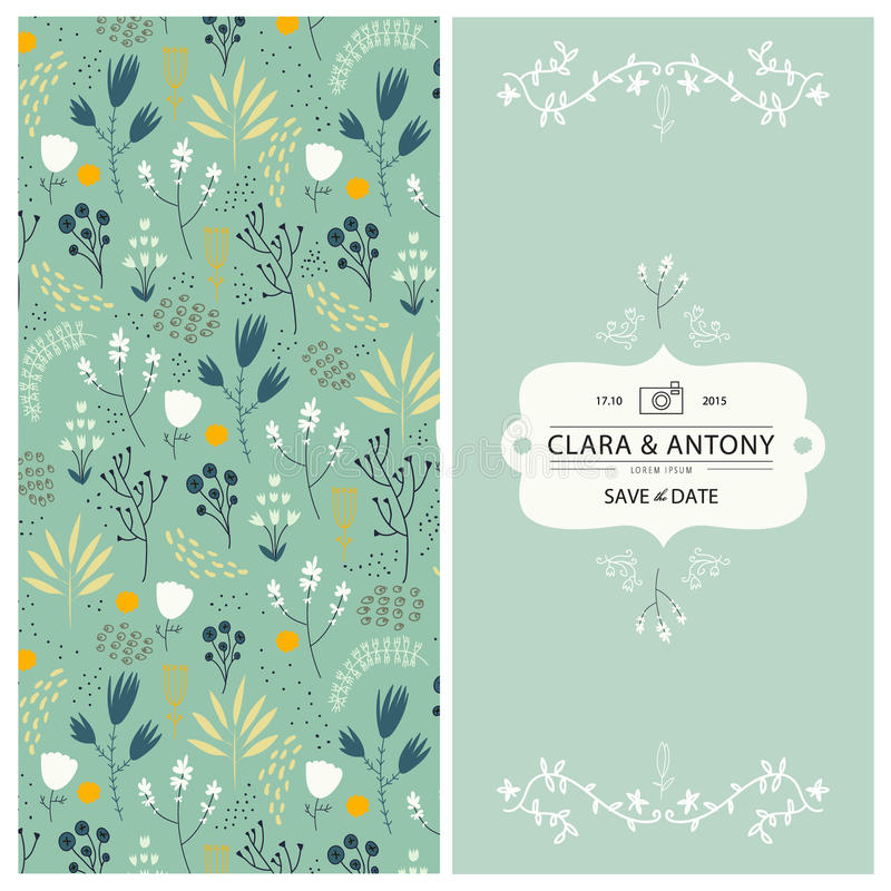 Vectorhuwelijksuitnodiging, 2 kanten Bloemen stock illustratie