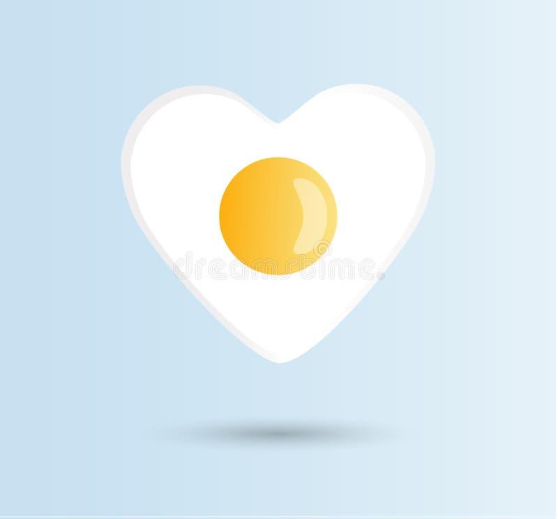 Vectori-liefdeeieren, gezond voedselconcept Één gebraden zonnig-kant op kip of kippenei met oranje of gele dooier in het centrum  vector illustratie