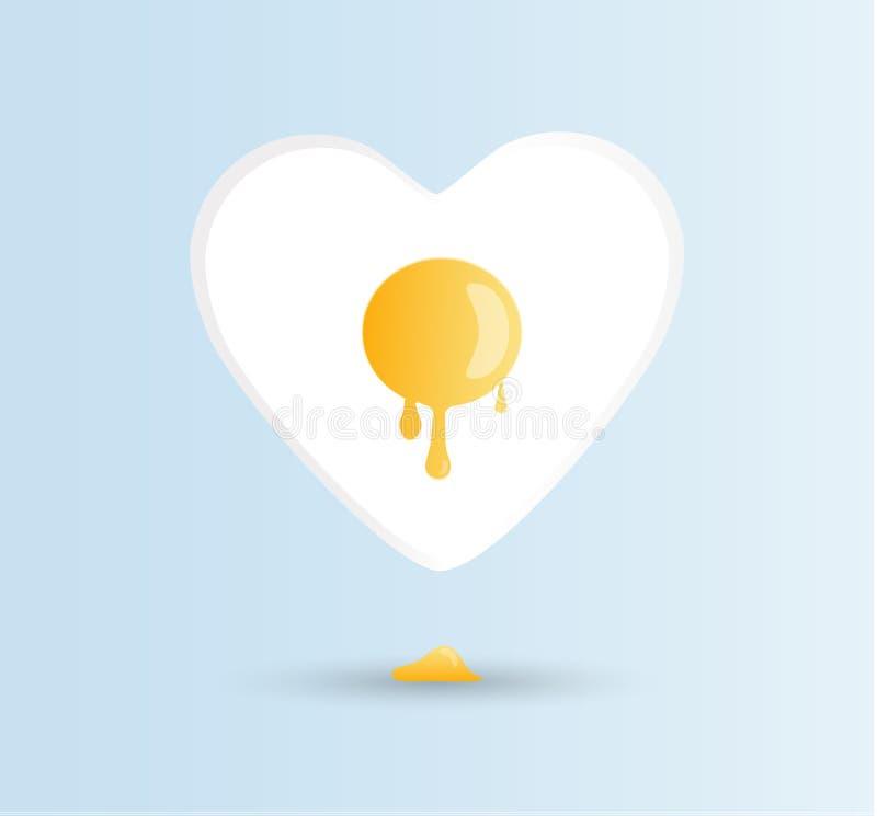 Vectori-liefdeeieren, goedemorgenconcept Één gebraden zonnig-kant op kip of kippenei met een oranje of gele dooier in het centrum vector illustratie