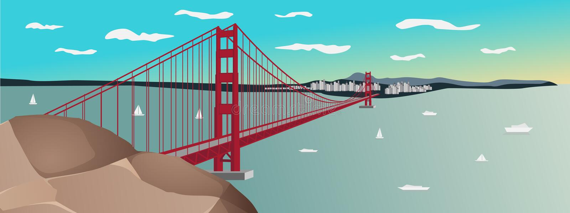 Vectorial απεικόνιση του χρυσού ηλιοβασιλέματος γεφυρών πυλών στο Σαν Φρανσίσκο απεικόνιση αποθεμάτων