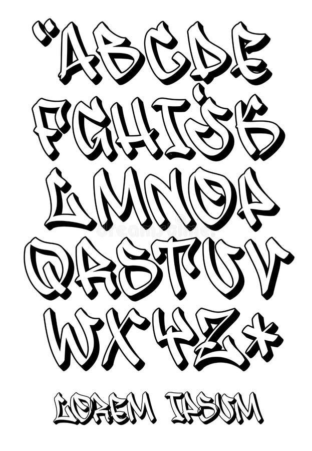 Graffiti font 3D- Hand written - Vector alphabet. Vectorial font in graffiti hand written 3D style. Capital letters alphabet stock illustration