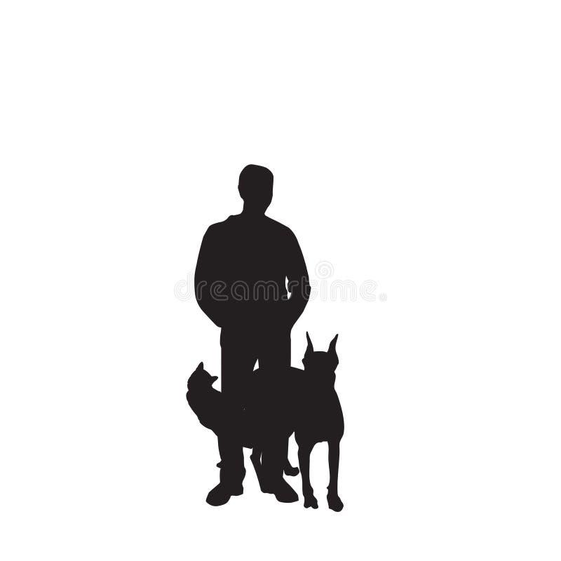 Vectorial para o homem e os seus animais de estimação ilustração stock