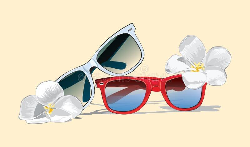 Vectoriels de lunettes de soleil avec fleurs tropicales photographie stock