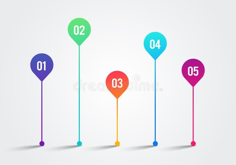 Vectorilllustration-Chronologie 3d Ontwerpsjabloon 1 tot 5 van Infographic Grafieken, Diagrammen en andere Vectorelementen voor G stock illustratie