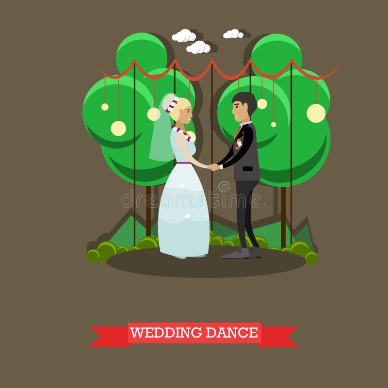 Vectorillustartion van de huwelijksdans in vlakke stijl vector illustratie