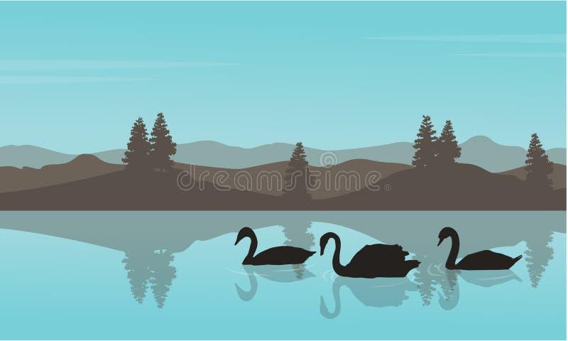 Vectorillustartion van de silhouetten van het zwaanlandschap royalty-vrije illustratie