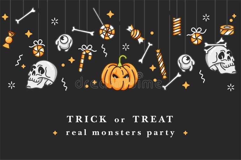 Vectorillustartionreeks lineaire pictogrammen voor Gelukkig Halloween Kentekens en Etiketten voor partij en markt De truc of beha vector illustratie