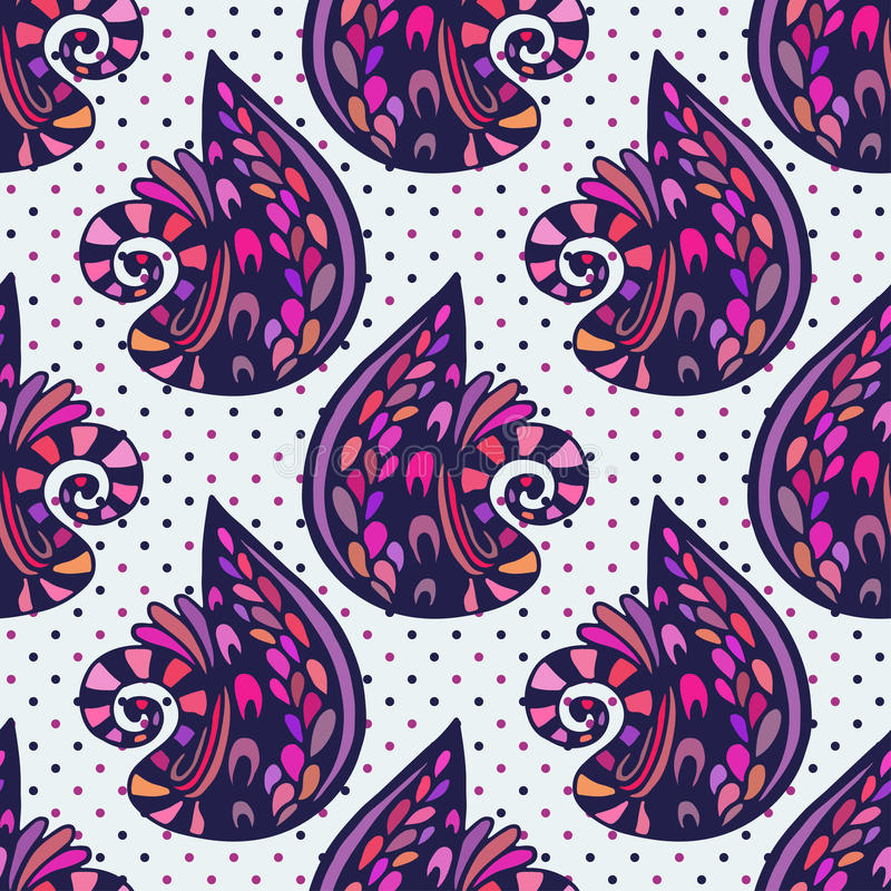 Vectorillustratie Abstract naadloos patroon Abstracte kleurrijke krabbels violette achtergrond vector illustratie