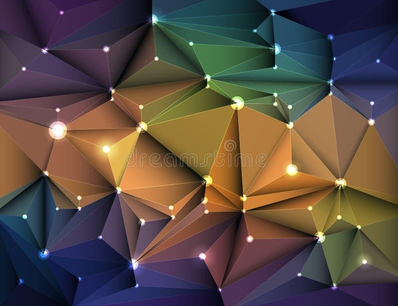 Vectorillustratie Abstracte 3D Geometrisch, Veelhoekig, Driehoekspatroon in de vorm van de moleculestructuur royalty-vrije illustratie